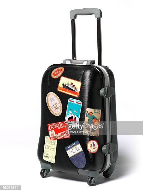 Travel case stickers on suitcase