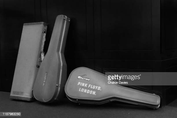 Travel cases for Fender Stratocaster Martin and Ovation guitars at the David Gilmour Guitar Collection auction at Christie's in New York 20th June...