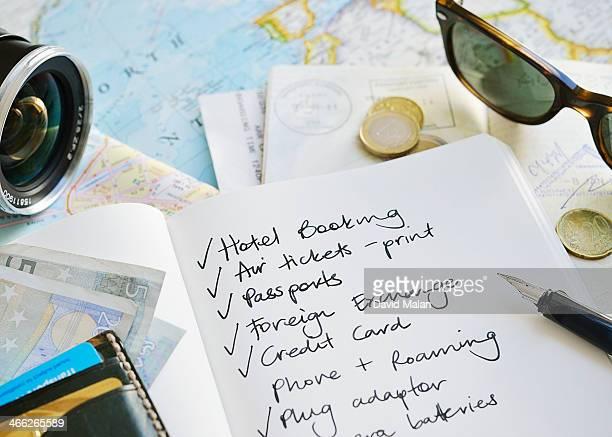 Travel checklist with maps, passport, money etc