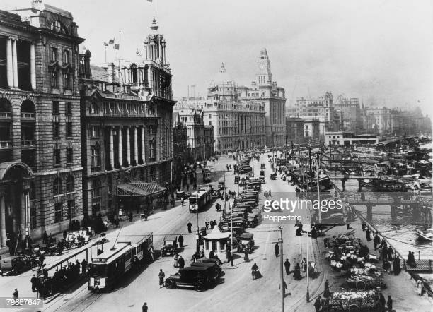 Travel Circa 1910's Shanghai China View of the Bund showing the centre and the Dome of the Hong Kong Shanghai Bank