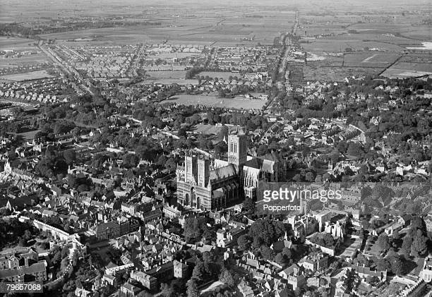 circa 1950 An aerial view of Lincoln Cathedral and the city of Lincoln The landmark of Lincoln Cathedral was used by World War II bomber pilots as...