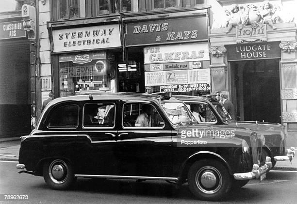 circa 1971 A black London taxi cab