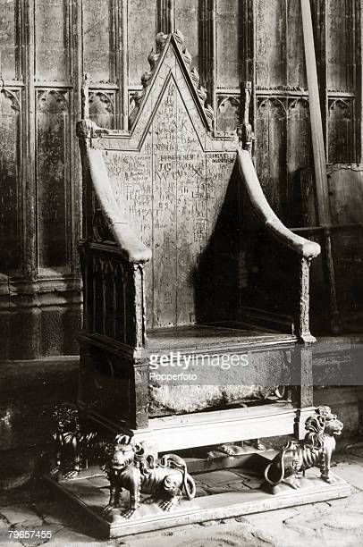Travel Cities England London Royalty pic circa 1920's The Coronation Chair Stone of Destiny or Stone of Scone and the state sword of King Edward III...