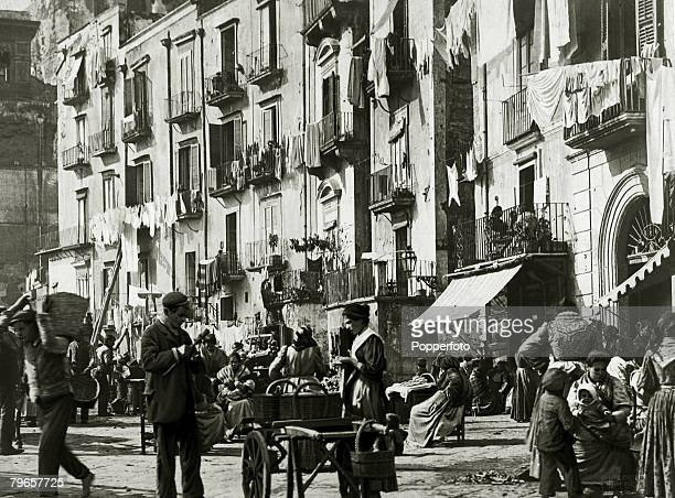 Travel Cities Italy Naples pic circa 1900 Street life in Santa Lucia Naples with local people's washing hanging from the buildings