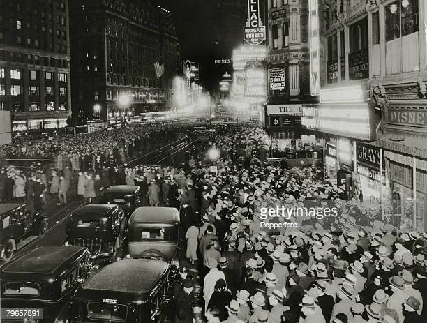 circa 1920's New York The Theatre district around Times Square New York showing large crowds leaving the theatres