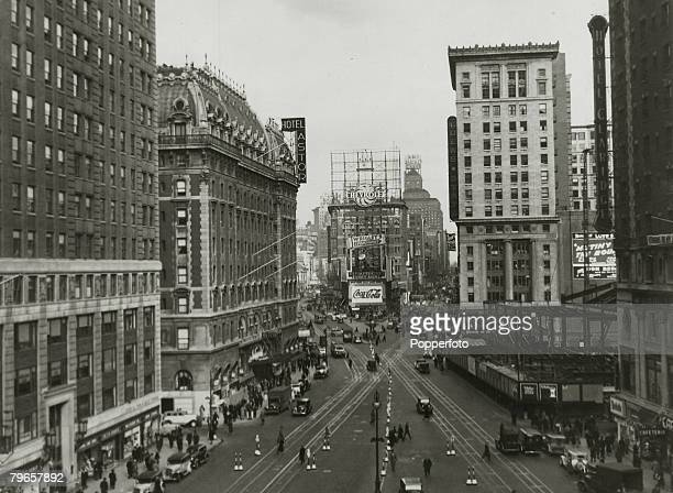circa 1920's New York The Theatre district around Times Square New York seen from Broadway