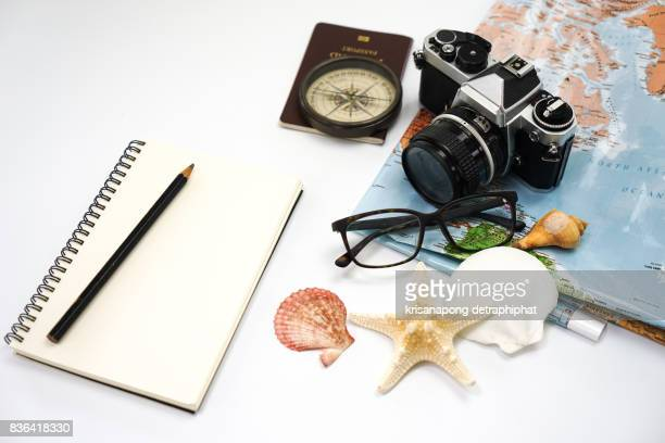 Travel concept background,Overhead view of Traveler's accessories.