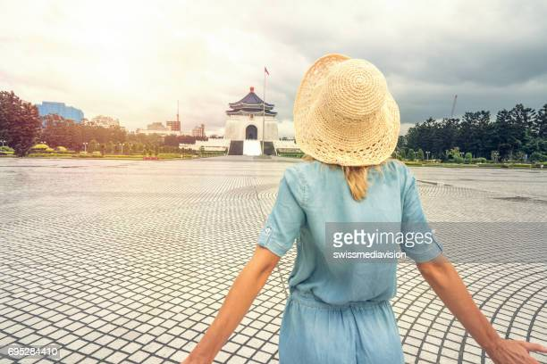 Travel concept - Young woman traveling in Asia