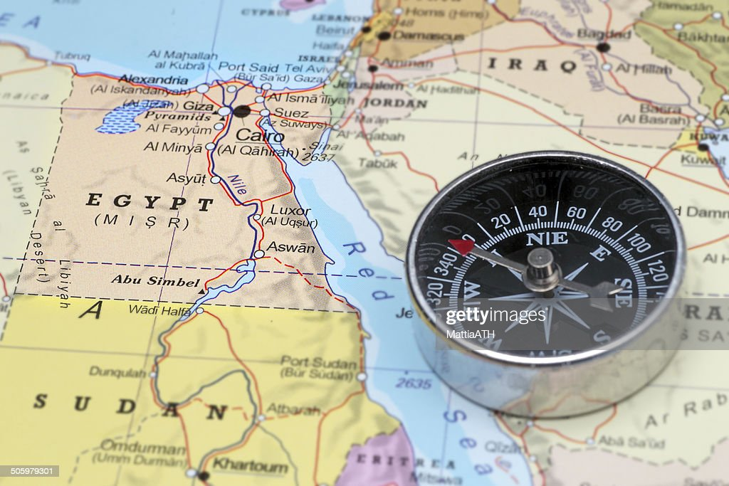 Travel Destination Egypt Map With Compass Stock Photo Getty Images