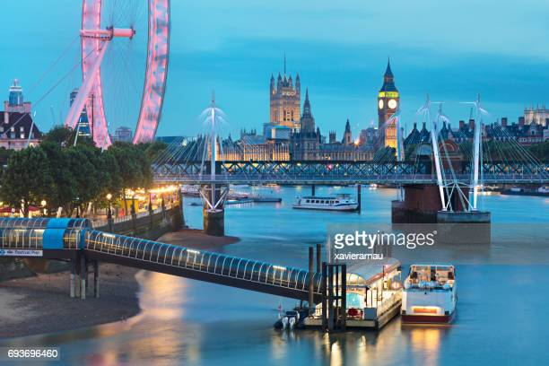 travel destinations of london at night - barge stock photos and pictures