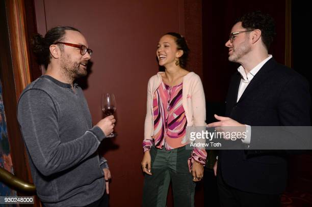 Travel Editor at Surface Magazine Nate Storey artist Zoe Buckman and Surface Media Digital Director William Hanley attend Surface Presents Design...