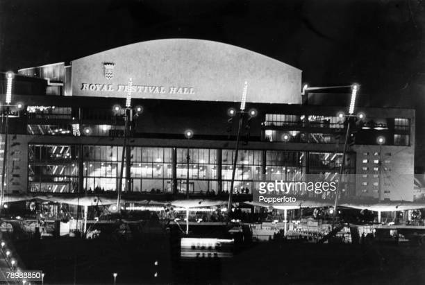 1951 London The Royal Festival Hall on the South Bank of the River Thames floodlit at night