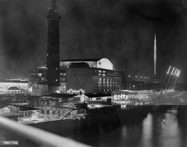 May 1951 London Prominent features at the Festival of BritainThe Shot Tower The Royal Festival Hall and the illuminated Festival Skylon on the South...