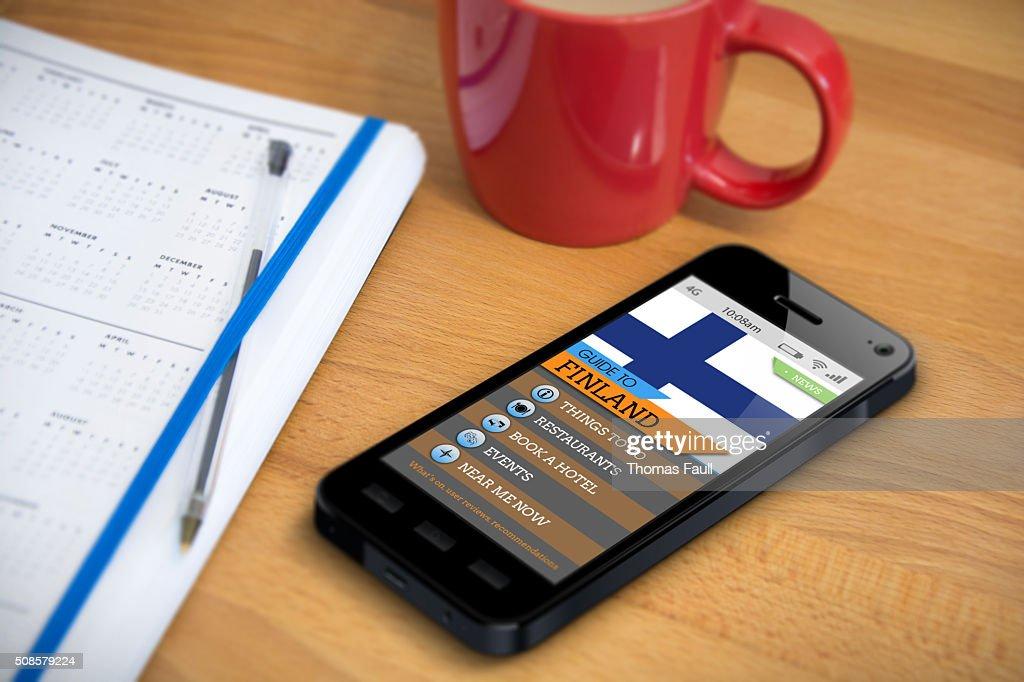 トラベルガイド-フィンランド-スマートフォンのアプリ : ストックフォト