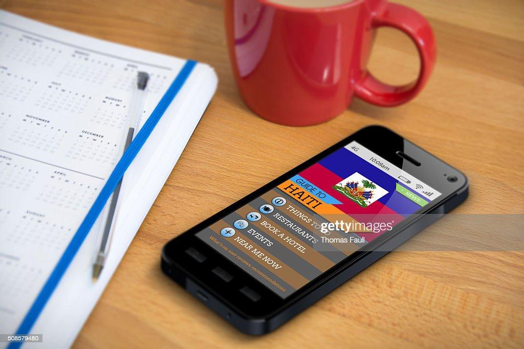 Reiseführer-Haiti-Smartphone-App : Stock-Foto
