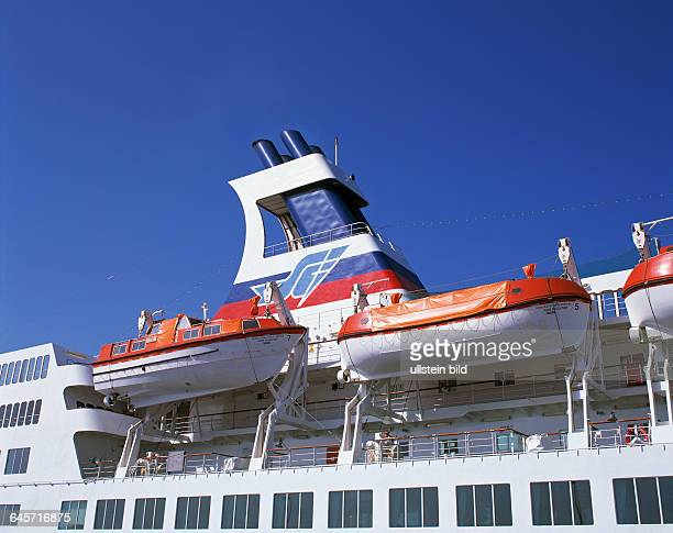 travel holidays safety lifeboats on an ocean liner passenger ship Fedor Dostoevskij Nassau funnel seaport Spain Canary Islands Canaries Tenerife...