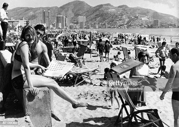 1960's Holidaymakers on the beach at Benidorm