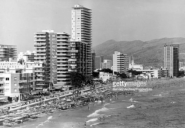 June 1970 The new high rise holiday hotels and beach at Benidorm
