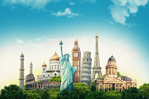 Travel illustration world's famous landmarks and tourist destinations elements in colorful background. 3d illustration. 1131877134
