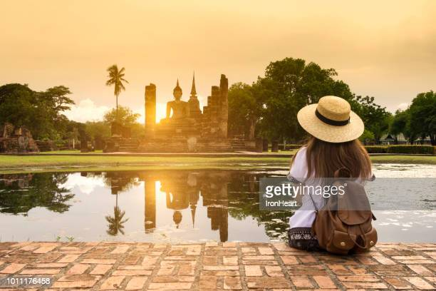 travel in sukhothai, thailand. - wat stock pictures, royalty-free photos & images