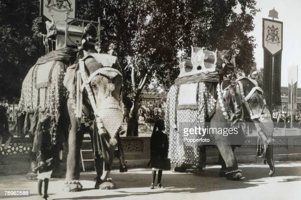Travel India BikanerCirca 1930's Two huge Elephants used during the Maharajah of Bikaner's Jubilee celebrations