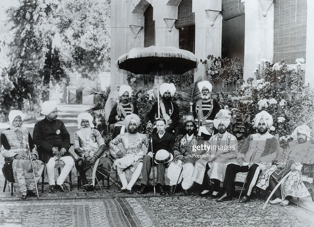 Travel India British Empire Circa 1895 The Lieutenant General of the Punjab having tea with five local Maharaja's two Raja's and one Nawab