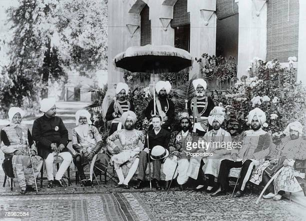 Travel India British Empire Circa 1895 The Lieutenant General of the Punjab having tea with five local Maharaja's two Raja's and one Nawab