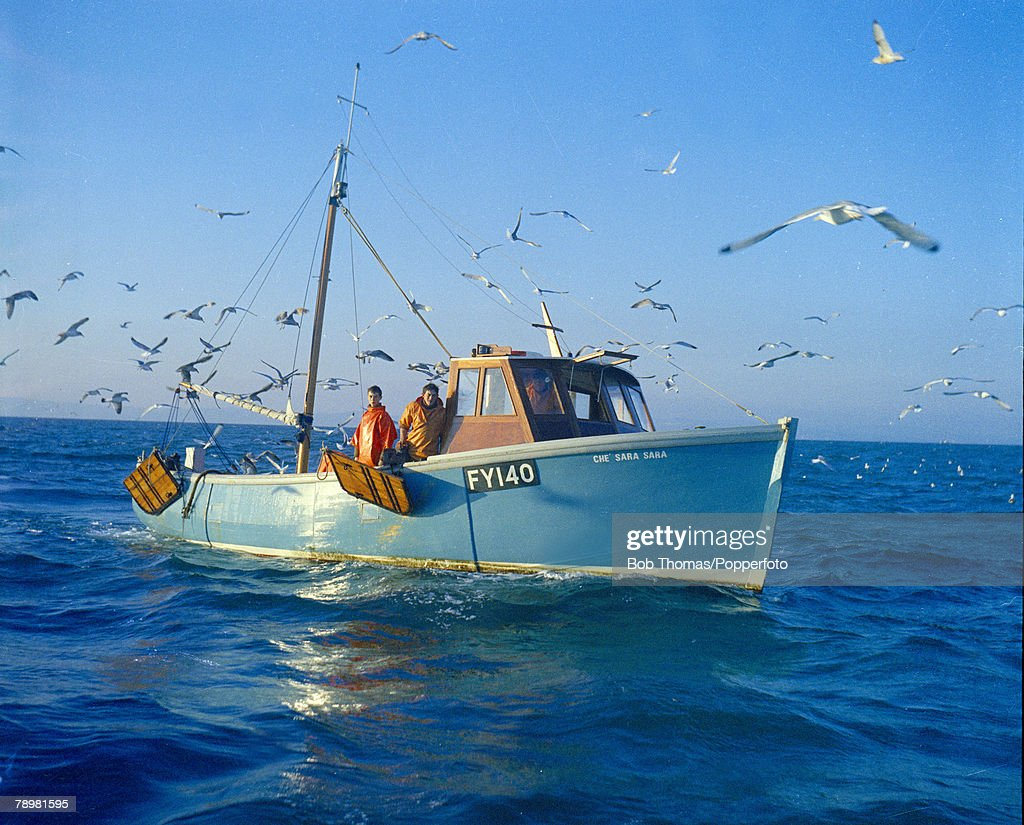 Travel. Industry. England. pic: circa 1972. Inshore Fishing boat in Torbay, South Devon surrounded by sea gulls. : News Photo