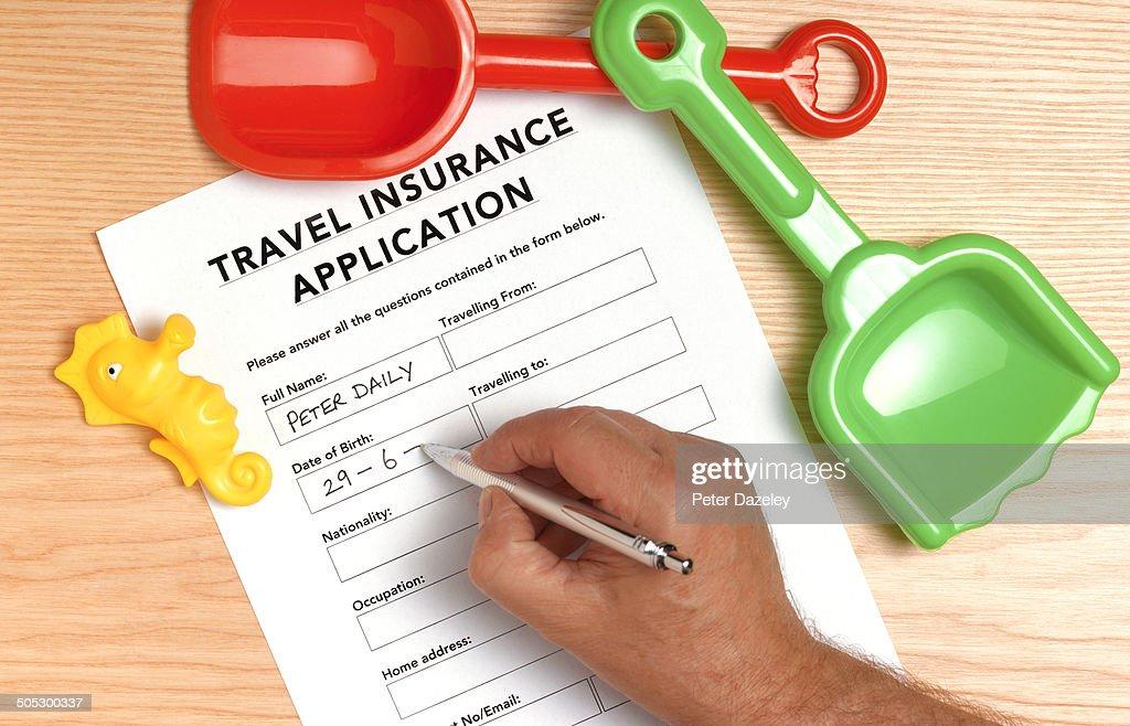 Travel insurance application : Stock Photo
