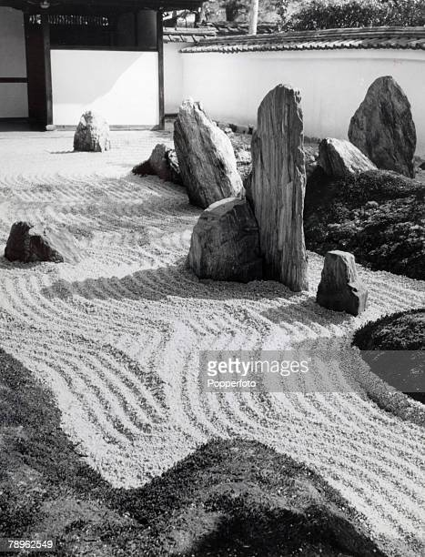 Travel Japan Kyoto Circa 1900's Sangen in Daitoku Ji Temple A Zen rock garden the sand is raked everyday in the same traditional manner