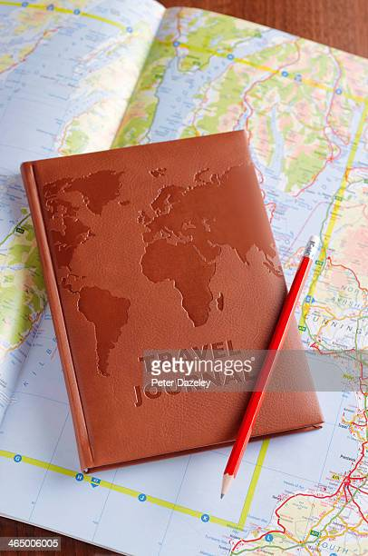 Travel journal on map