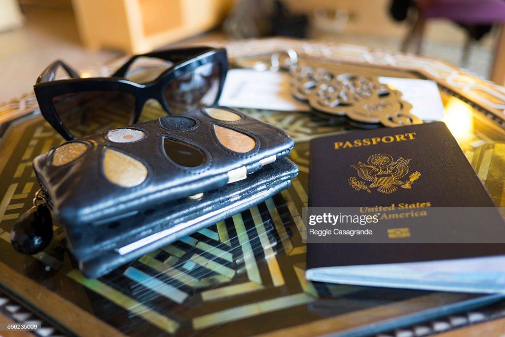 Travel kit with passport : Stock Photo