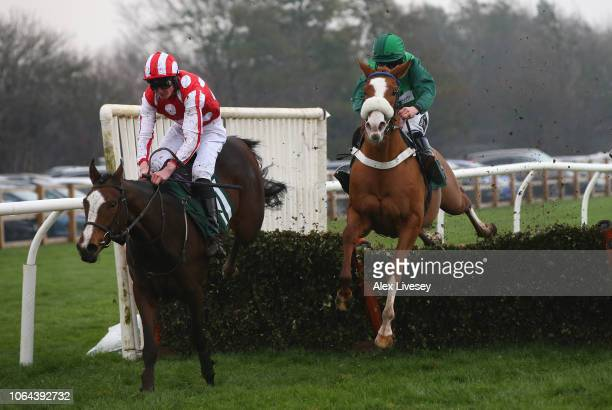 Travel Lightly ridden by Connor King clears the last hurdle ahead of Liva ridden by Brian Hughes on their way to winning the Watch Racing UK Anywhere...