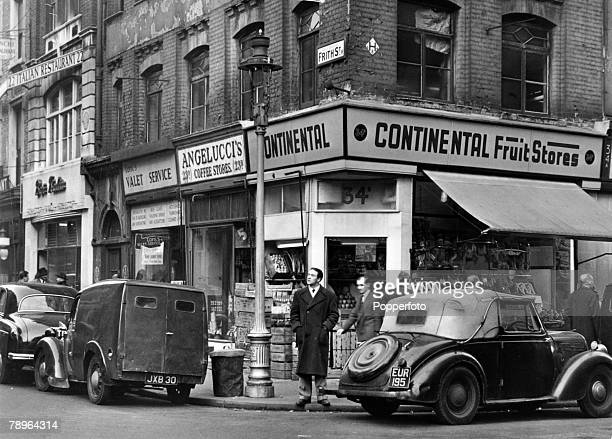 Travel, London, Businesses, pic: circa 1955, The corner of Frith Street, London, showing the continental fruit market, Italian coffee shop, Italian...