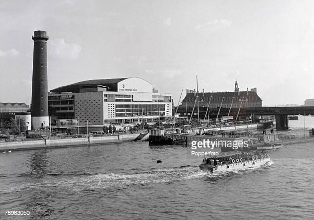 Travel London England Circa 1950's The Royal Festival Hall part of the South Bank Seen here from the River Thames