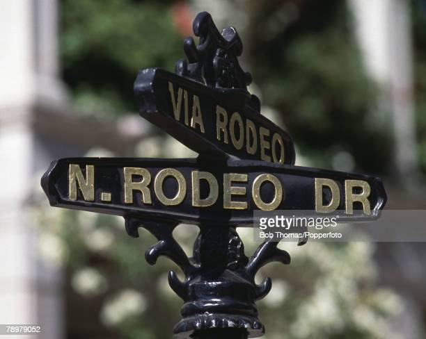 Travel Los Angeles California USA The street sign for Rodeo Drive