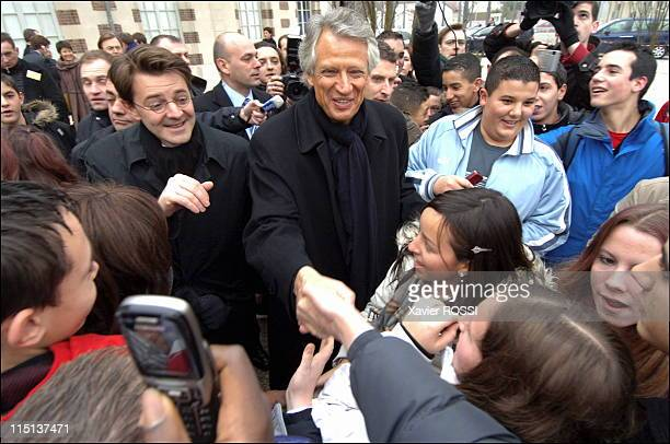 Travel of Dominique de Villepin, accompanied by Francois, Mayor of Troyes and Minister of Overseas in Troyes, France on February 03, 2006 - Arrival...