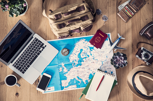 Travel planning concept on map 891573112