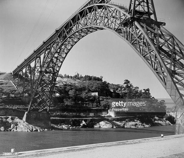 circa 1930's The Dona Maria Pia Bridge spanning the River Douro Oporto