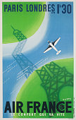 Travel poster advertising flights from paris to london in one hour picture id524423562?s=170x170
