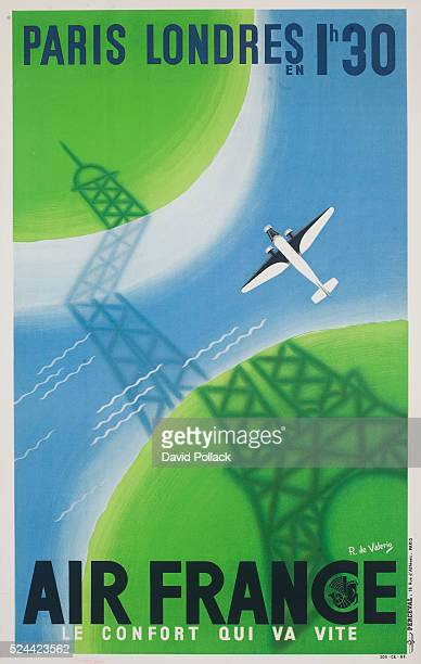 A travel poster advertising flights from Paris to London in one hour and thirty minutes