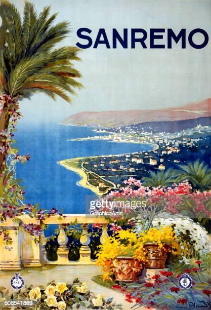 Travel poster by Vincenzo Alicandri of San Remo, Italy, c. 1920.