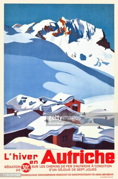 Travel poster depicts whitecapped mountains above a series of snowtopped chalets Austria 1935