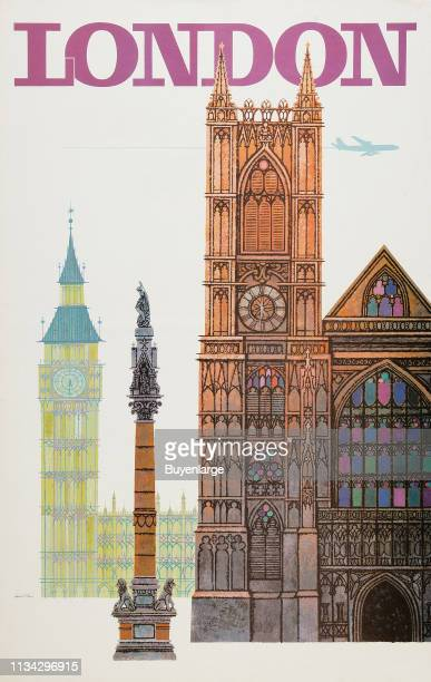 Travel poster entitled 'London' depicts Nelson's Column Westminster Abbey and Big Ben 1958
