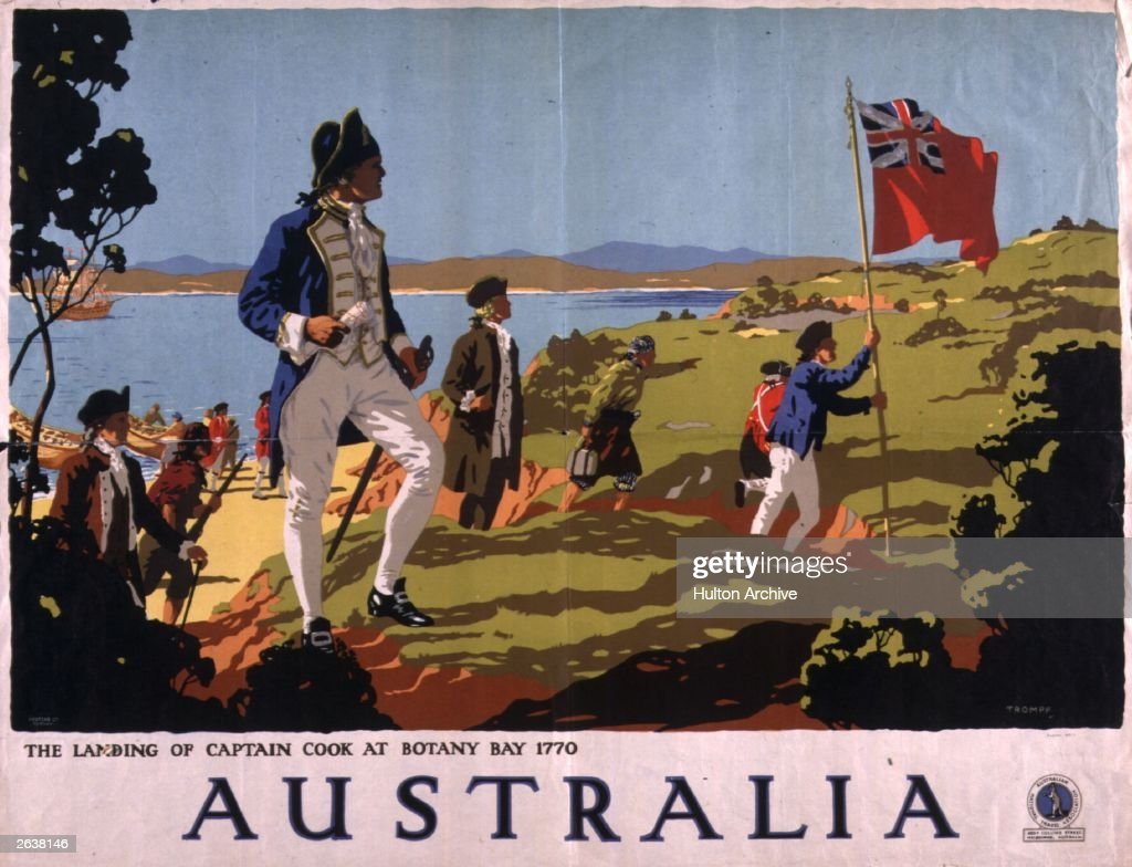 A travel poster for Australia, showing Captain Cook landing with his soldiers at Botany Bay in 1770.