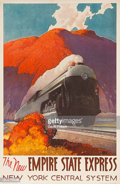 Travel poster for the New York Central System Rail showing a steaming locomotive engine pulling a long train of passenger rail cars 1941 Ilustrated...