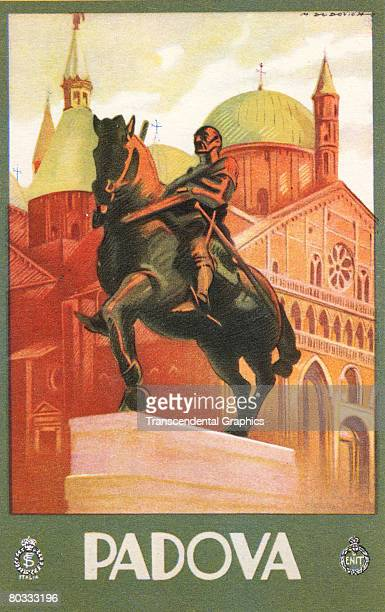 Travel poster painted by Marcello Dudovich and published by the Tourism Board of Italy promotes the city of Padua early twnetieth century