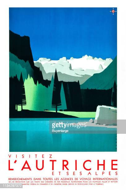 Travel poster promotes Austria and its Alps with an illustration a mountain lake and snowcapped peaks in the distance 1935
