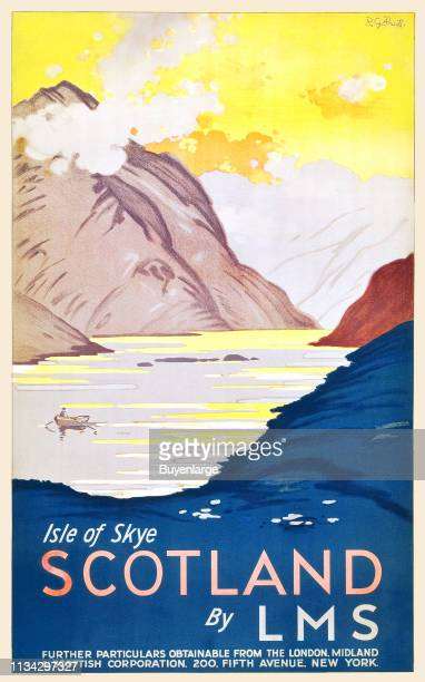 Travel poster promotes Scotland's Isle of Skye with an illustration of a person in a row in the mountainboardered lake 1933