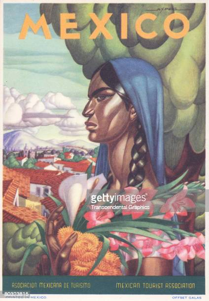Travel poster published by the Mexican Tourist Association features illustration of woman with headscarf and braids clutching a colorful array of...
